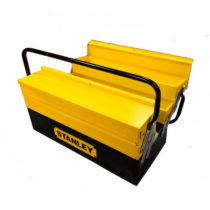 open shelves stanley black and yellow metal box